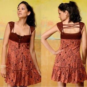 Free People Crochet Cap Sleeve Tunic Dress